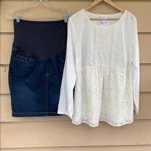 Maternity Lace top and jean skirt L